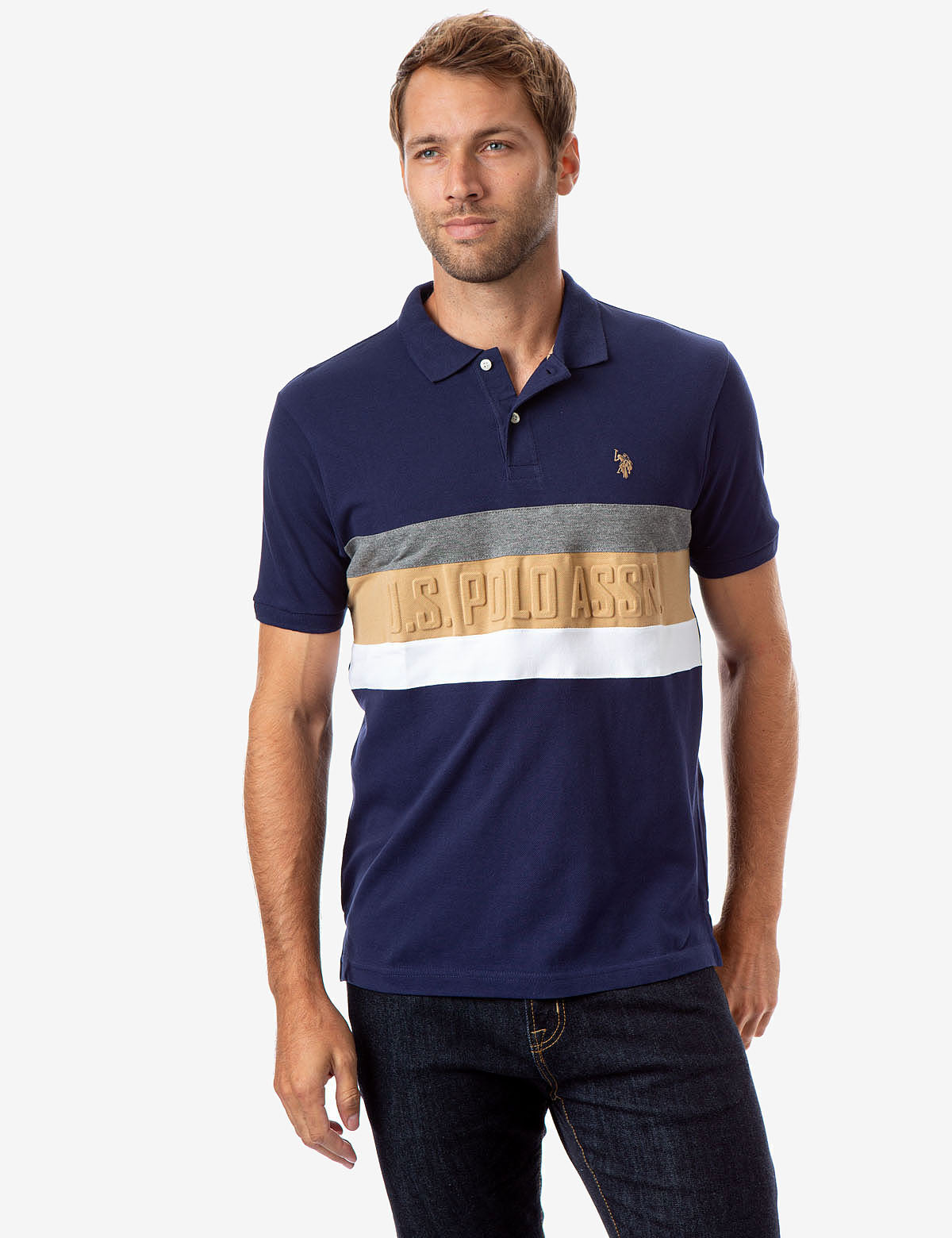 STRIPED EMBOSSED POLO SHIRT - U.S. Polo Assn.
