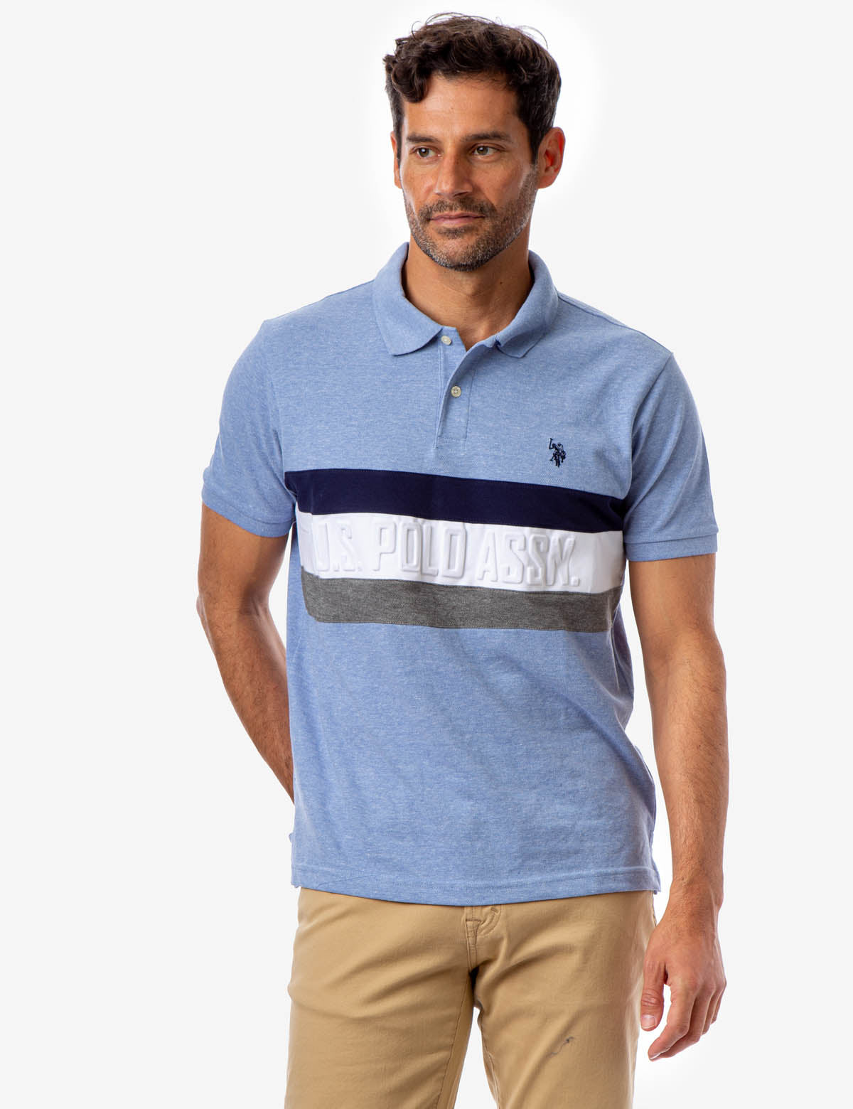 EMBOSSED U.S. POLO ASSOCIATION CHEST STRIPE POLO SHIRT - U.S. Polo Assn.