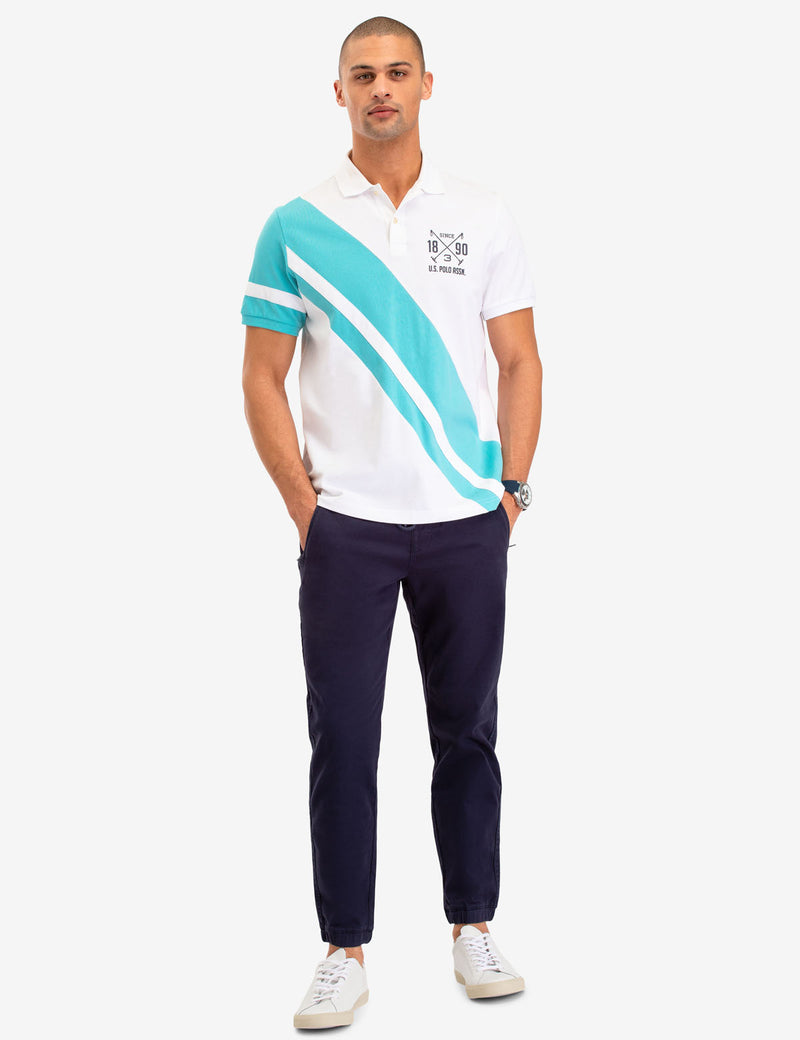 DIAGONAL STRIPE POLO SHIRT