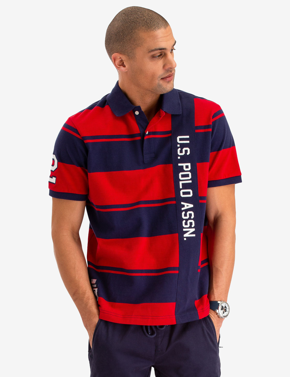 USPA VERITCAL RUGBY STRIPE POLO SHIRT