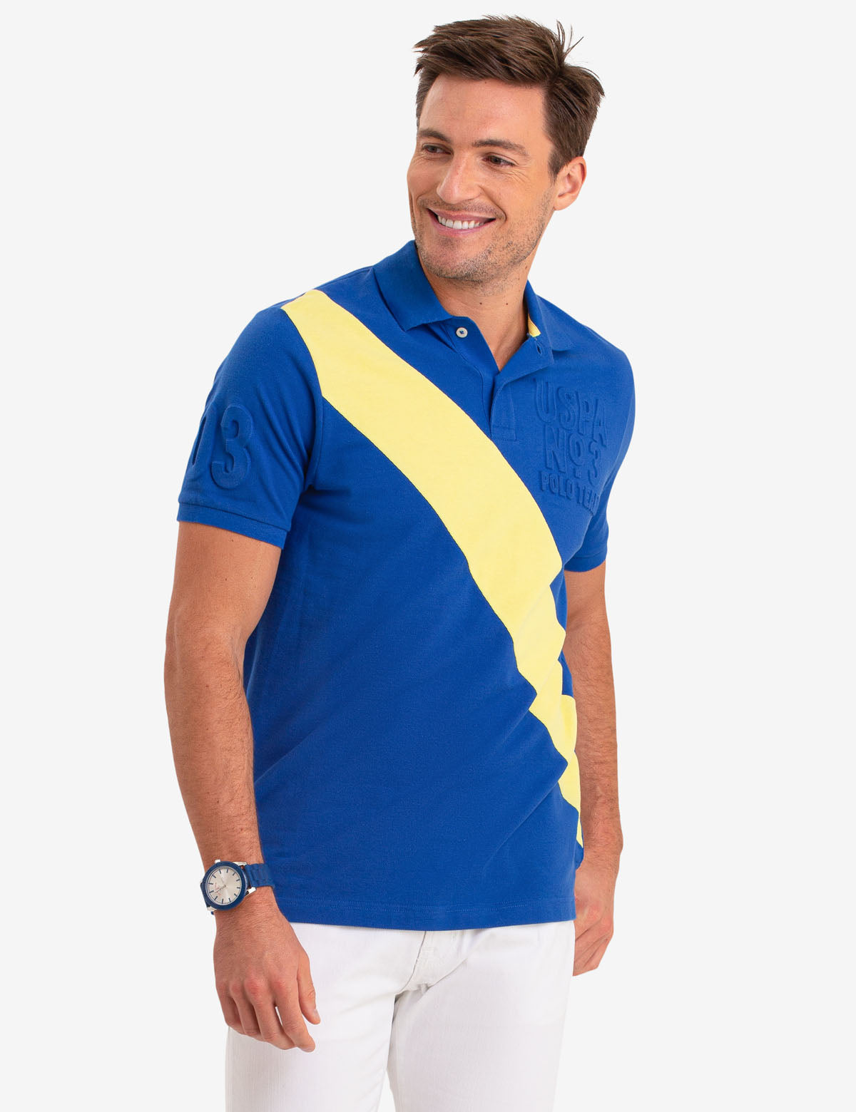 EMBOSSED LOGO DIAGONAL STRIPE POLO SHIRT - U.S. Polo Assn.