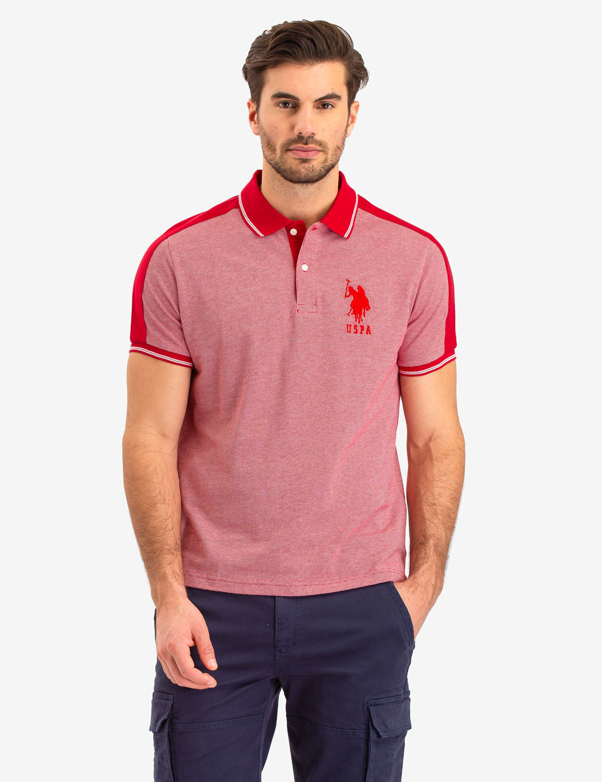JACQUARD SHOULDER STRIPE POLO SHIRT