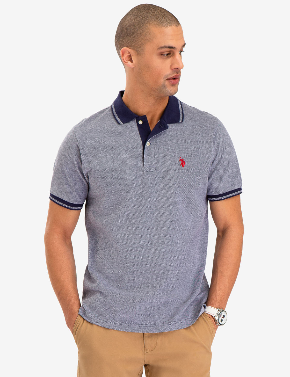 BIRDSEYE CONTRAST COLLAR POLO SHIRT