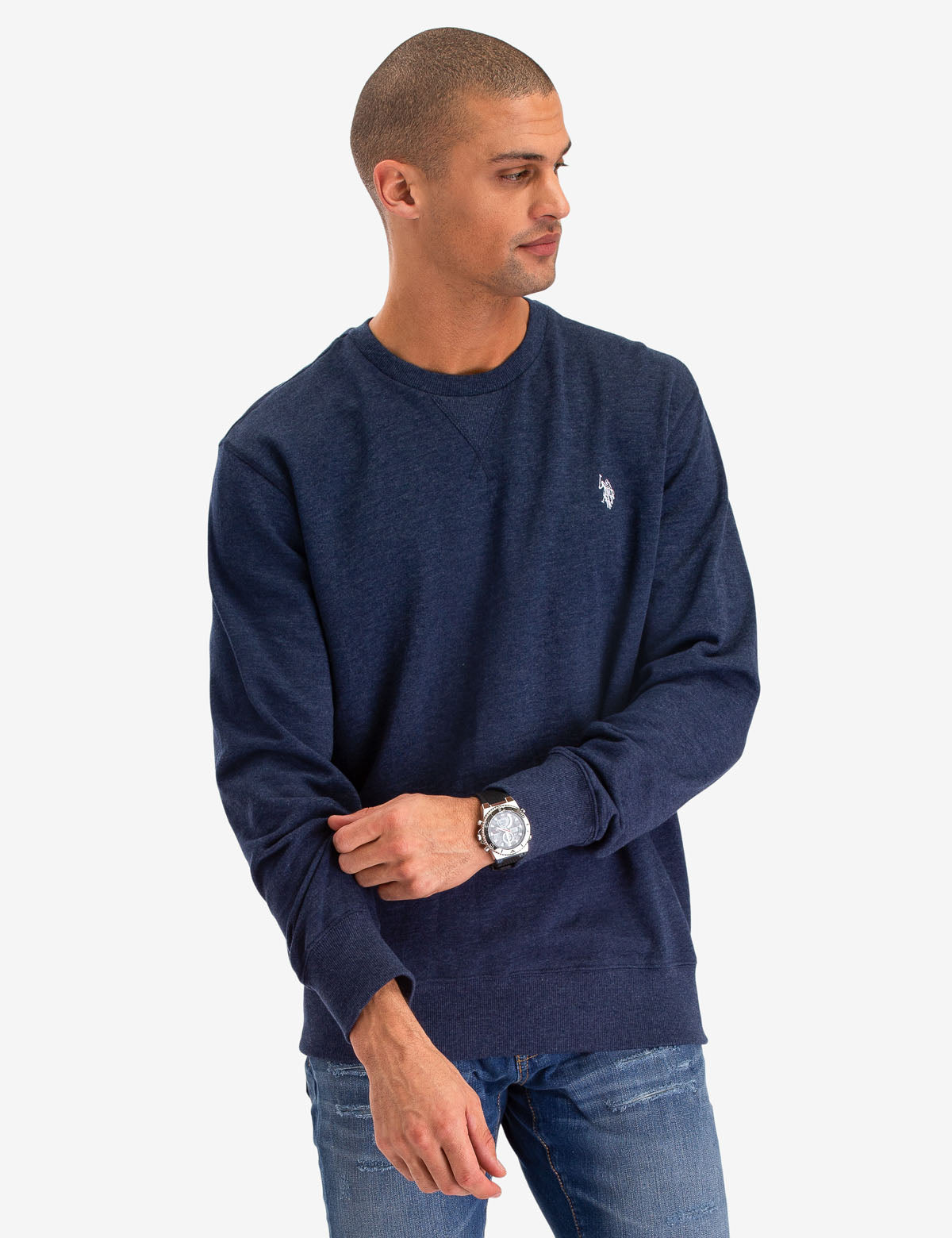 SOLID FRENCH TERRY CREW NECK SWEATSHIRT
