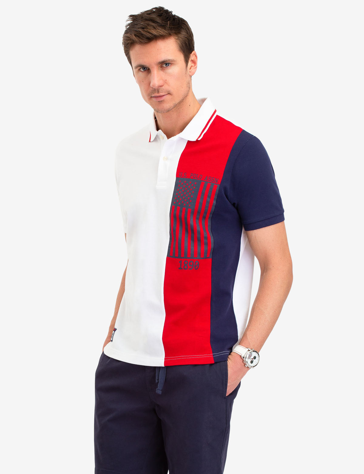 USPA FLAG VERTICAL STRIPE POLO SHIRT - U.S. Polo Assn.