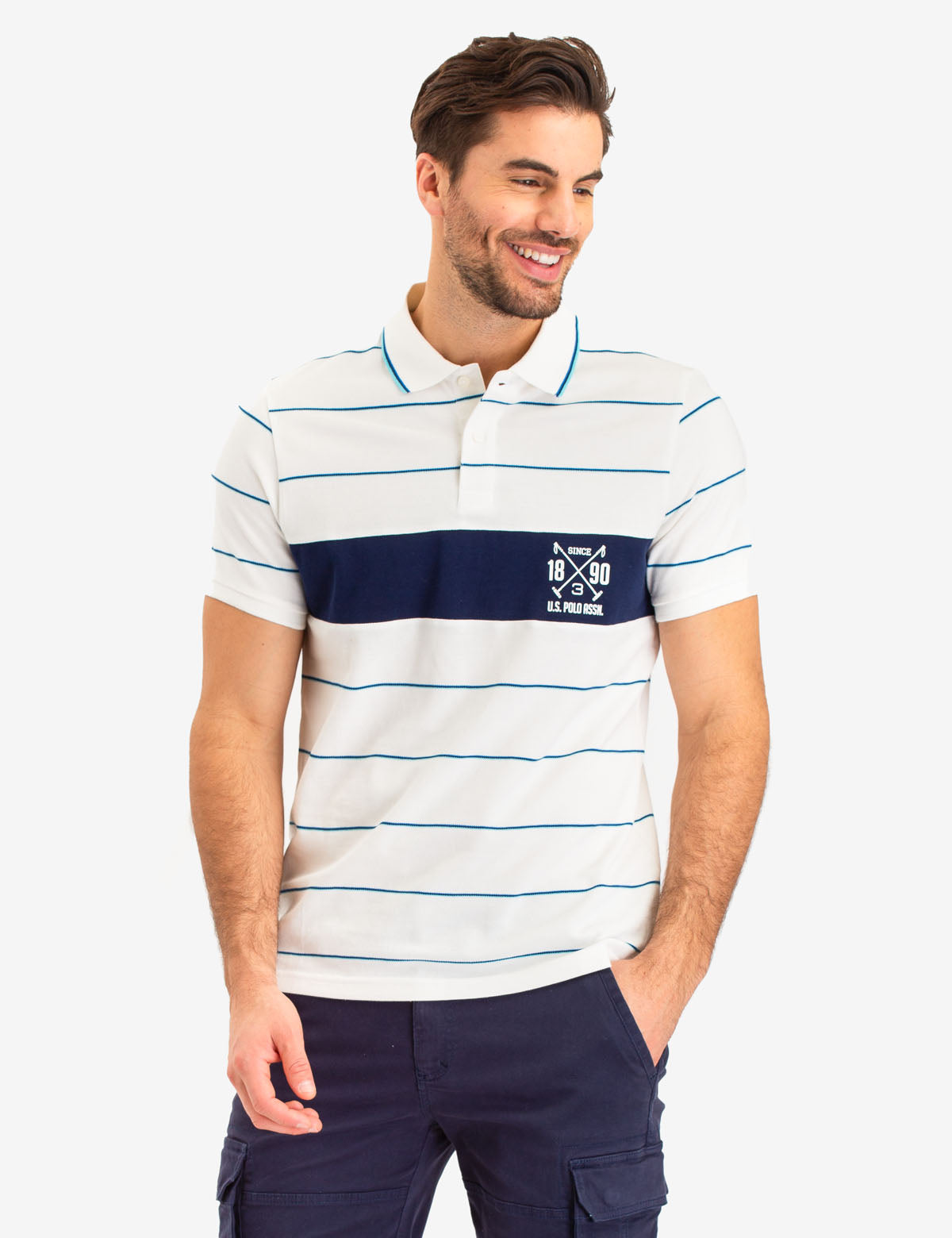 USPA STRIPED LOGO POLO SHIRT