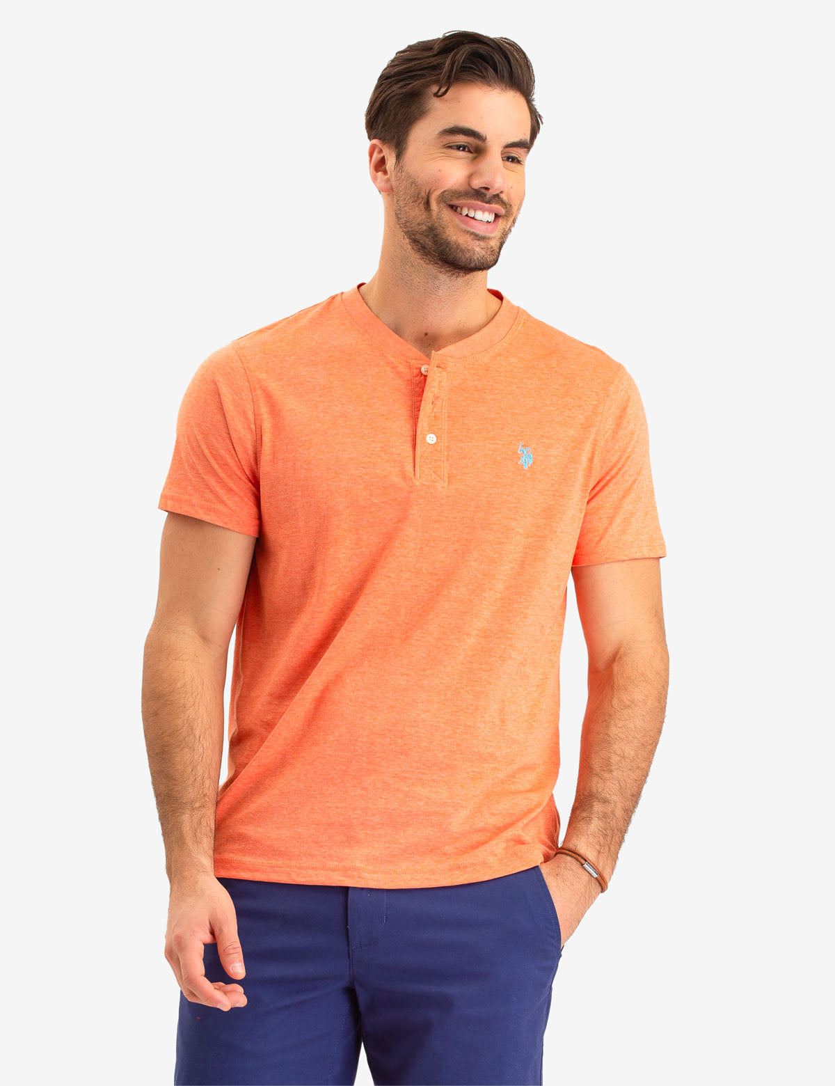 SOLID SHORT SLEEVE HENLEY