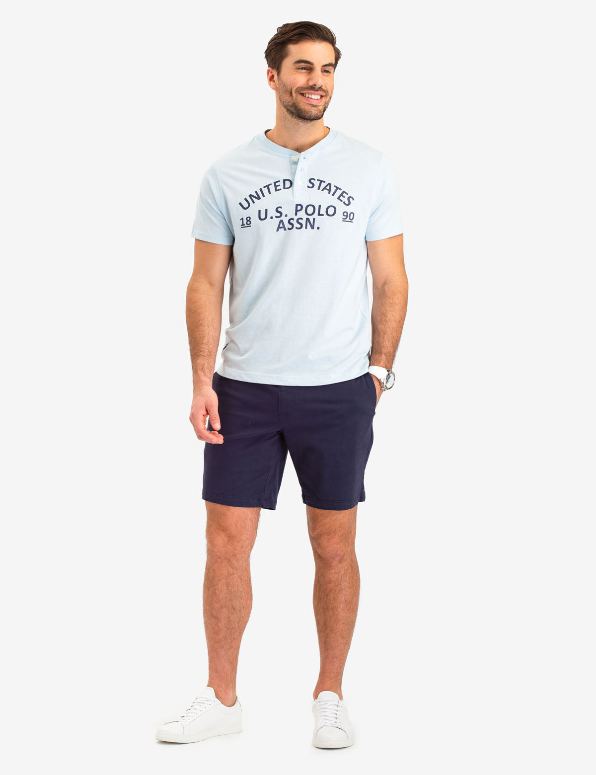 PRINTED HEATHER SHORT SLEEVE HENLEY - U.S. Polo Assn.