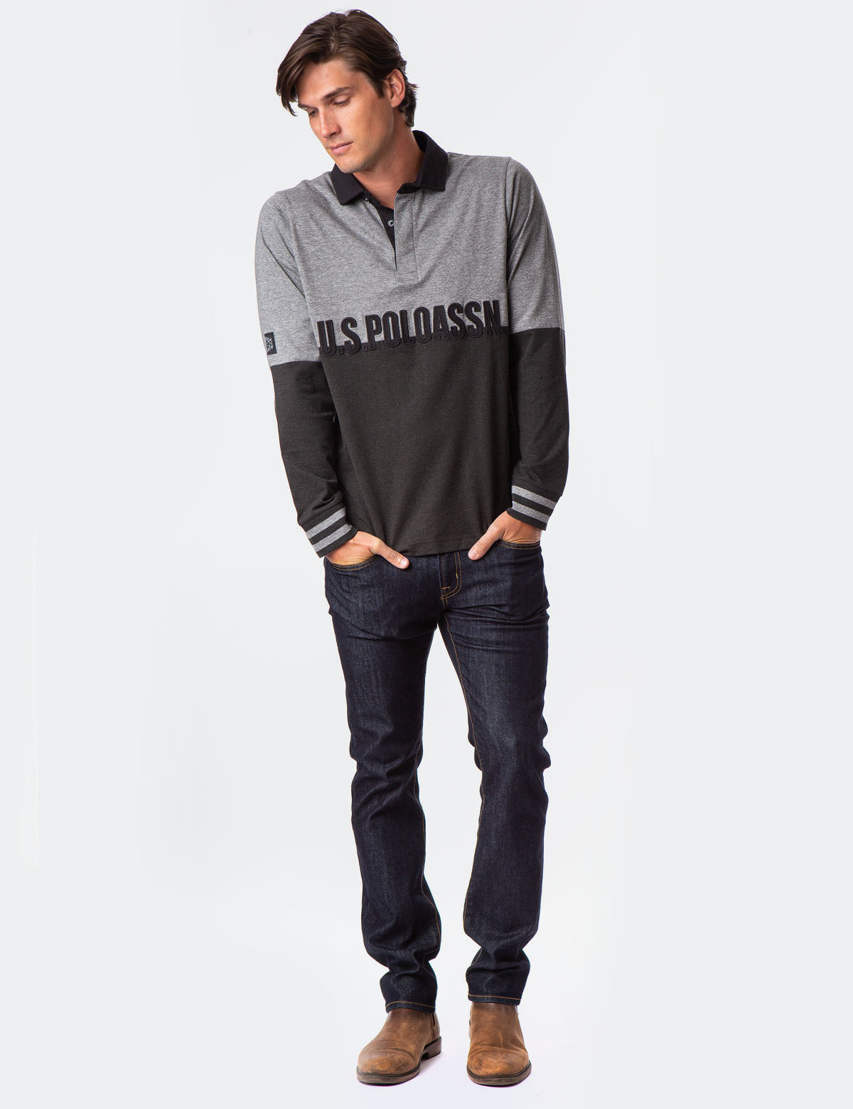 BLACK MALLET LONG SLEEVE RUGBY SHIRT - U.S. Polo Assn.