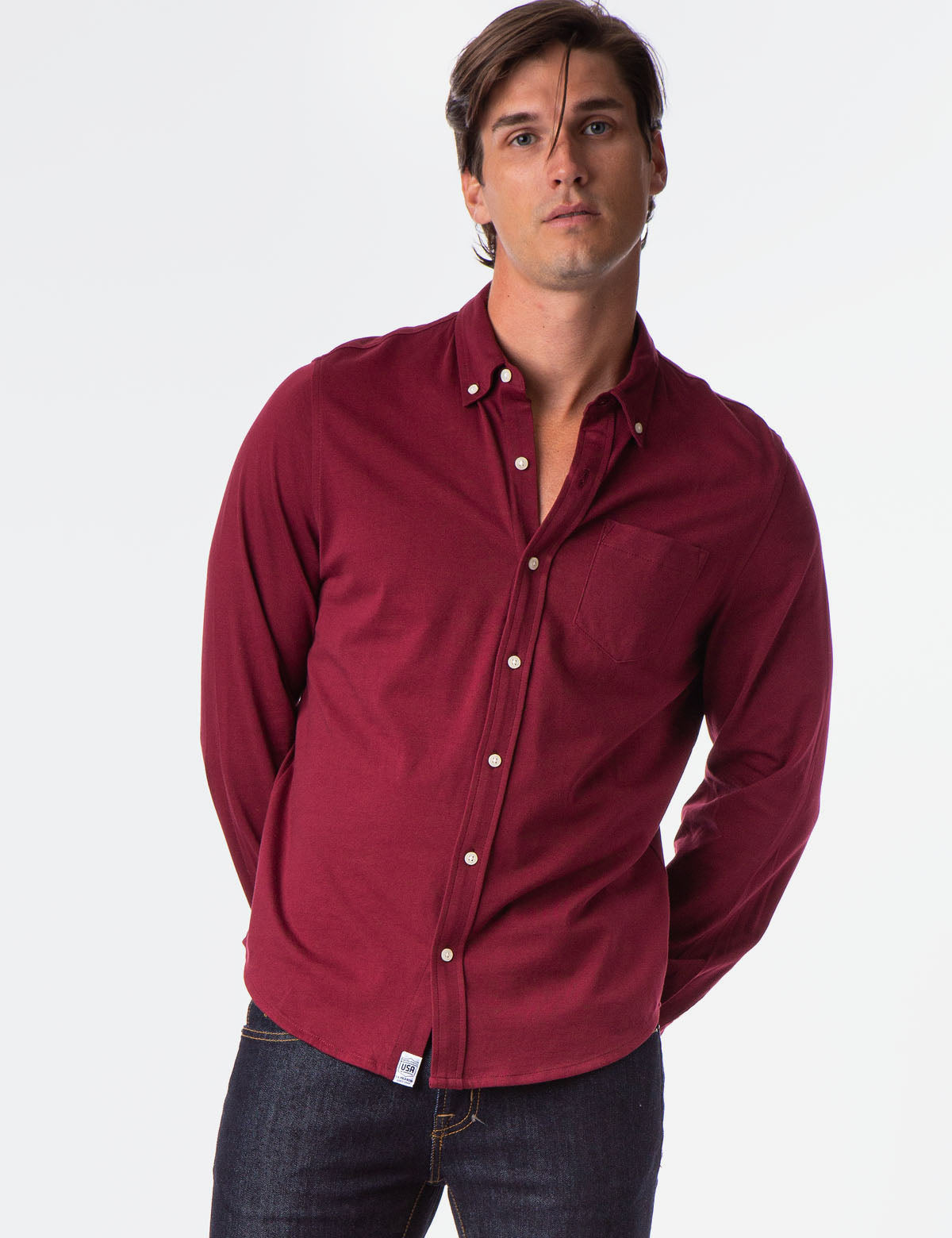 SOLID BUTTON DOWN JERESEY SHIRT
