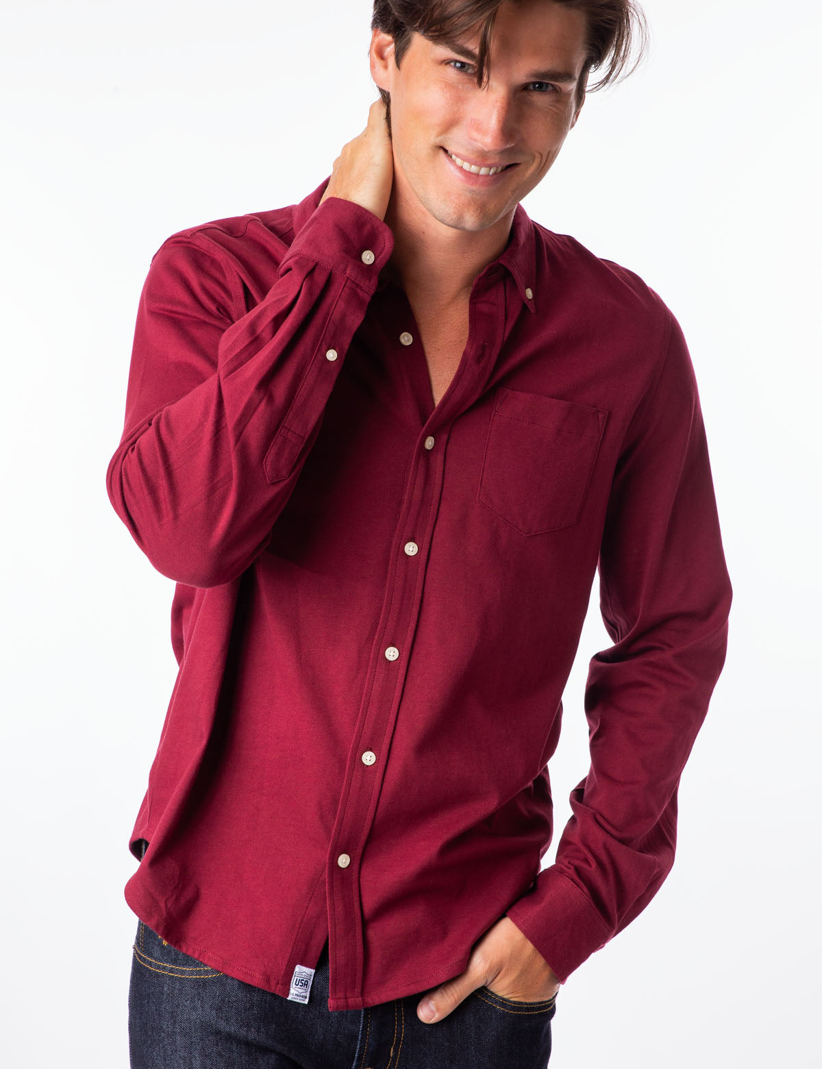 SOLID BUTTON DOWN JERESEY SHIRT - U.S. Polo Assn.