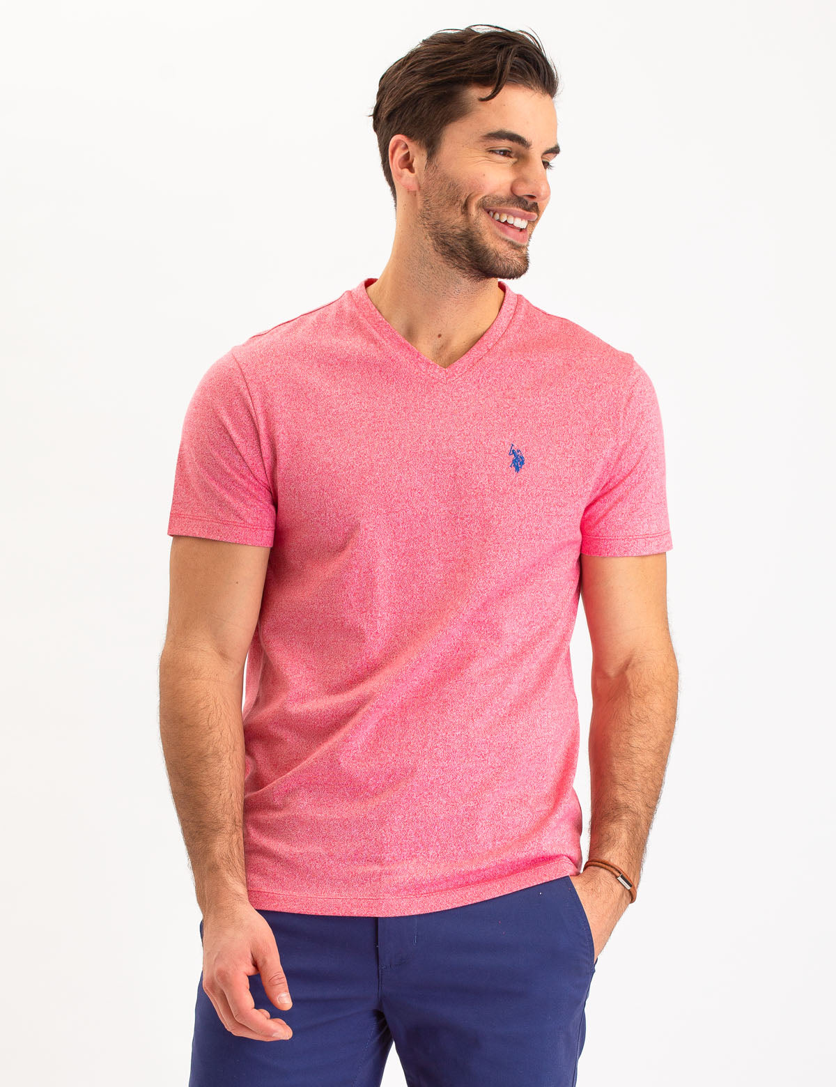 TWISTED YARN V-NECK T-SHIRT - U.S. Polo Assn.