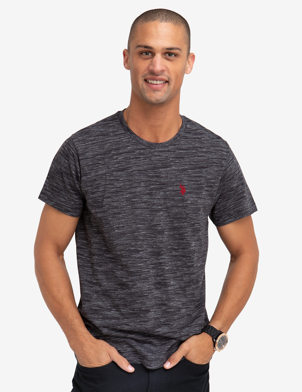 SPACE DYED CREW NECK T-SHIRT - U.S. Polo Assn.
