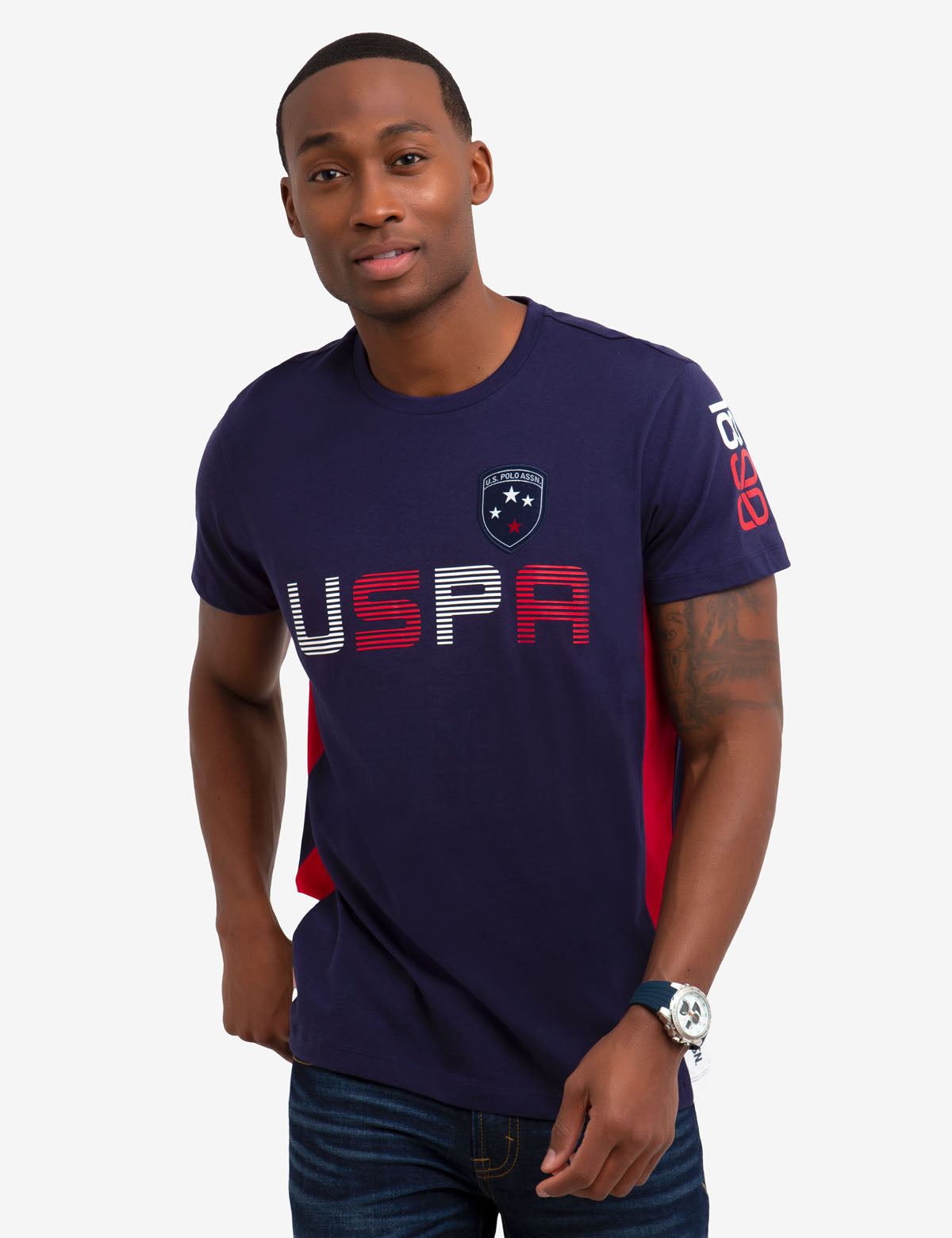 CREW NECK U.S. POLO ASSN. PATCH T-SHIRT - U.S. Polo Assn.