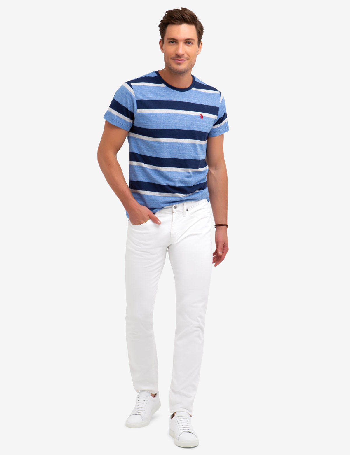 HEATHERED STRIPED T-SHIRT - U.S. Polo Assn.