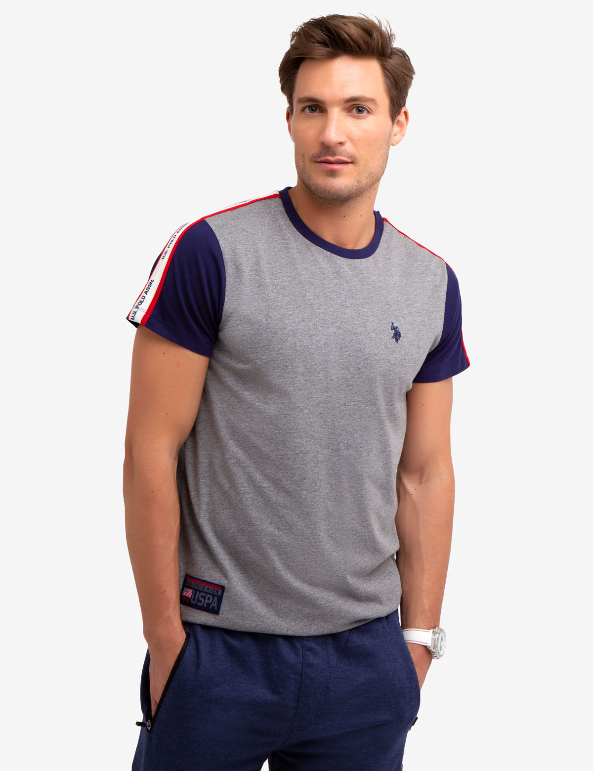 COLORBLOCK TEE-SHIRT WITH U.S. POLO ASSN. TAPING