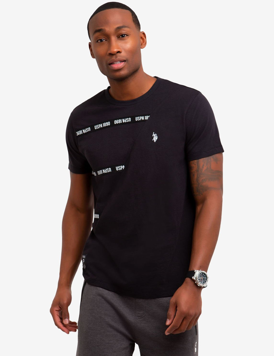 CREW NECK TAPE STRIPED T-SHIRT - U.S. Polo Assn.
