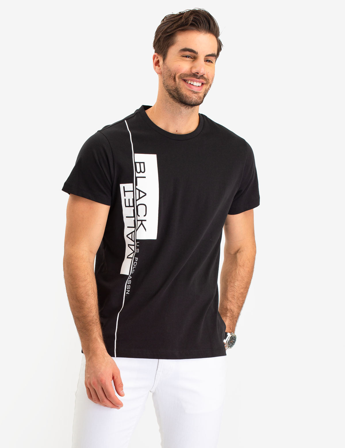 BLACK MALLET VERTICAL LOGO T-SHIRT