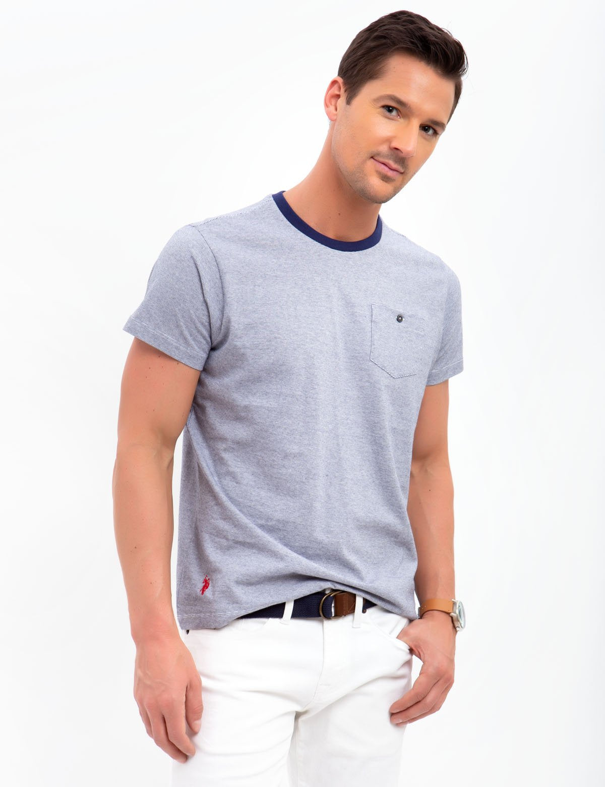 CREW NECK STRIPED TEE-SHIRT - U.S. Polo Assn.