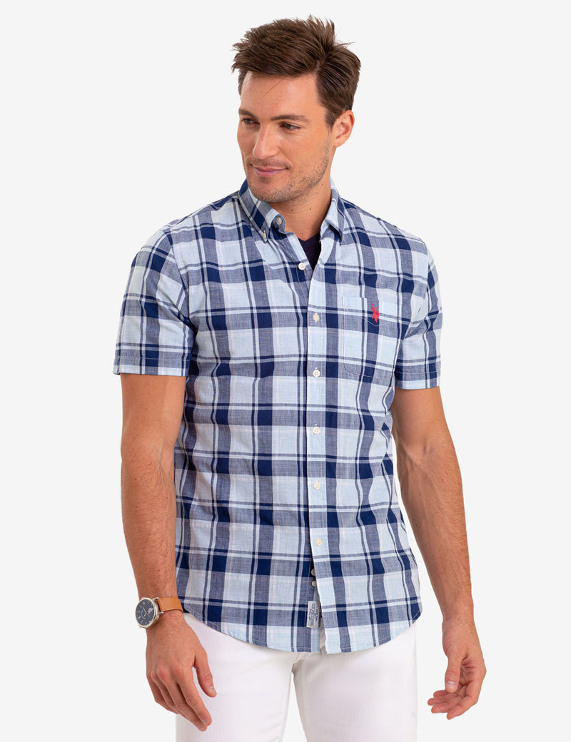 LARGE MADRAS PLAID SHORT SLEEVE SHIRT