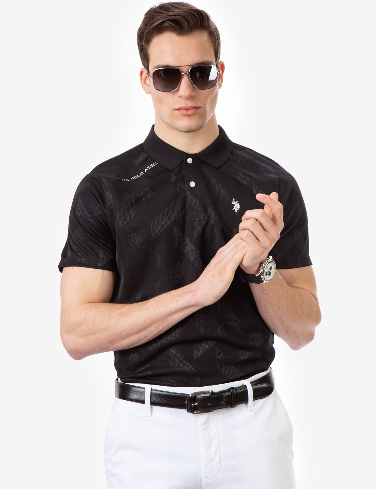 INTERLOCK JAQUARD GOLF SHIRT - U.S. Polo Assn.