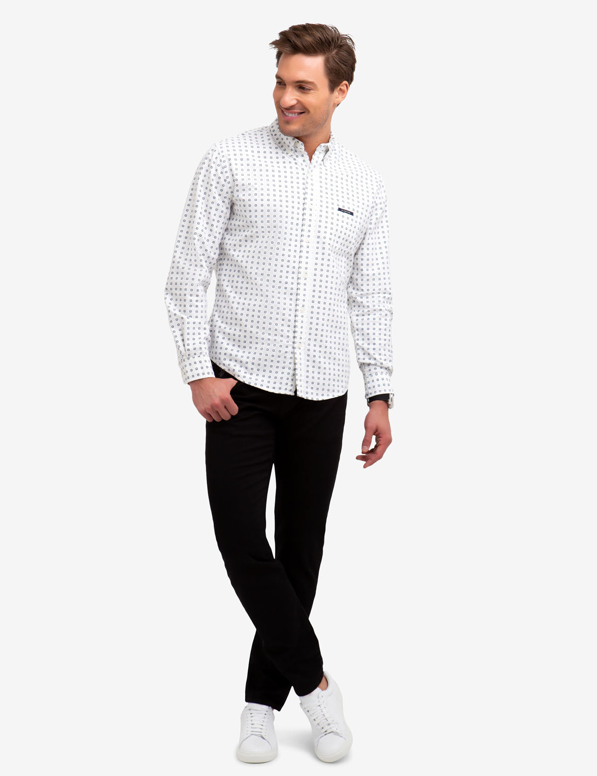 NO-TUCK GEOMETRIC PRINT OXFORD SHIRT. - U.S. Polo Assn.