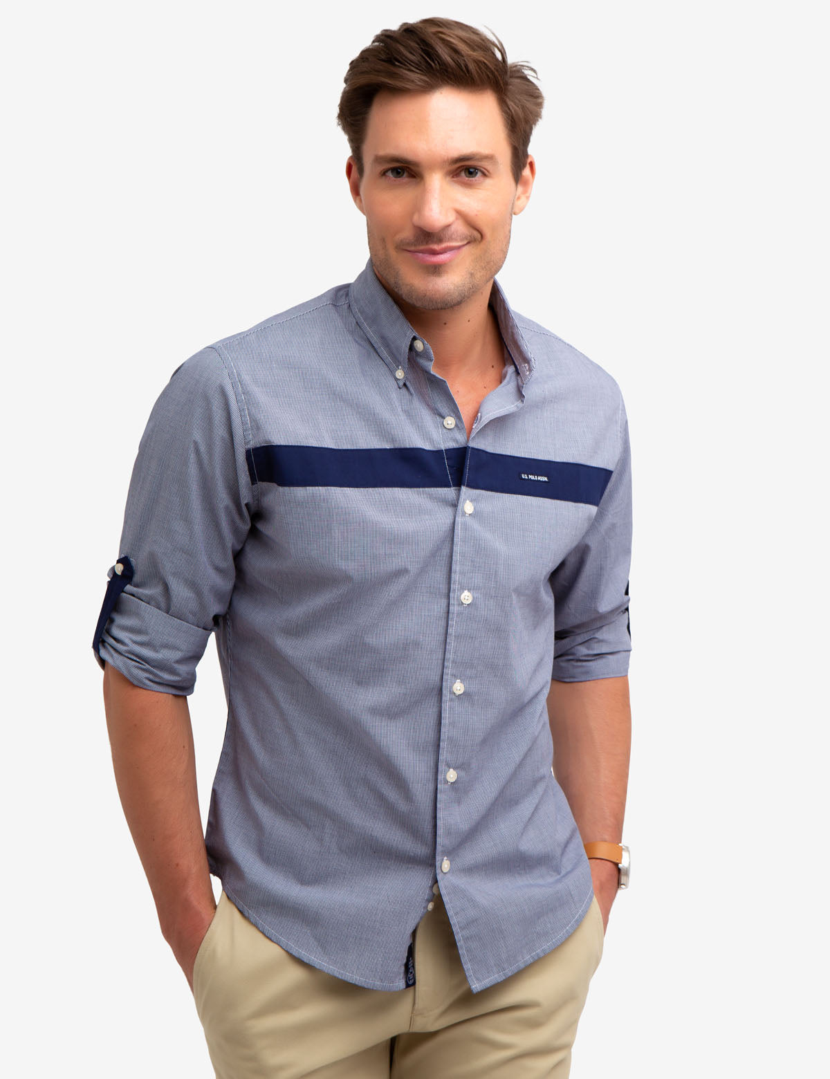 NO-TUCK HORIZONTAL STRIPE SHIRT