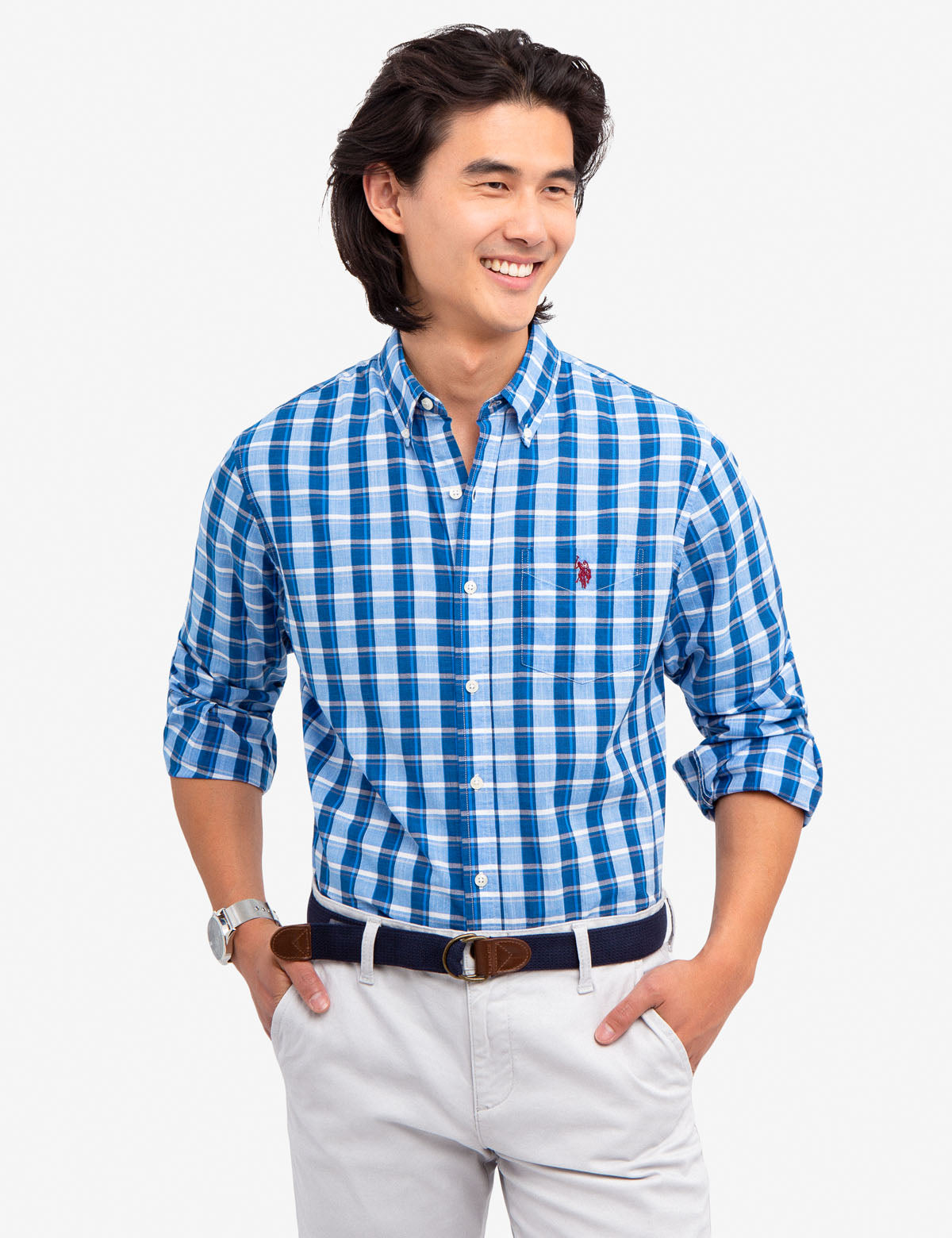 MEDIUM PLAID POPLIN SHIRT - U.S. Polo Assn.