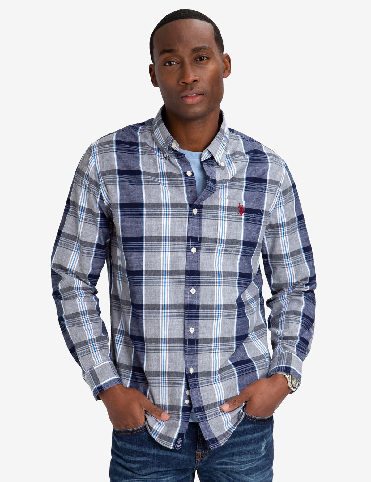 LARGE PLAID SLUB POPLIN SHIRT - U.S. Polo Assn.