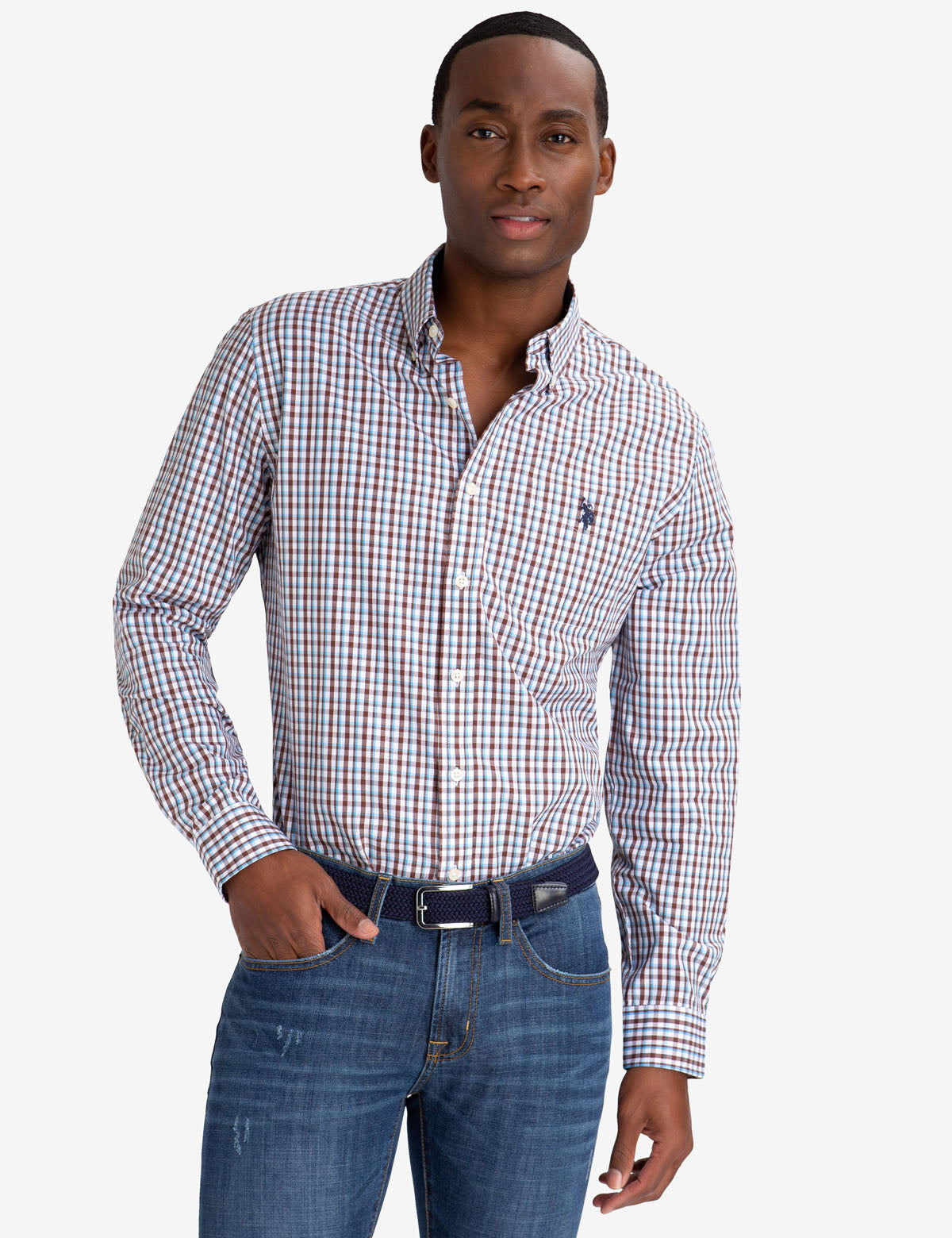 SMALL PLAID PEACHED POPLIN SHIRT - U.S. Polo Assn.