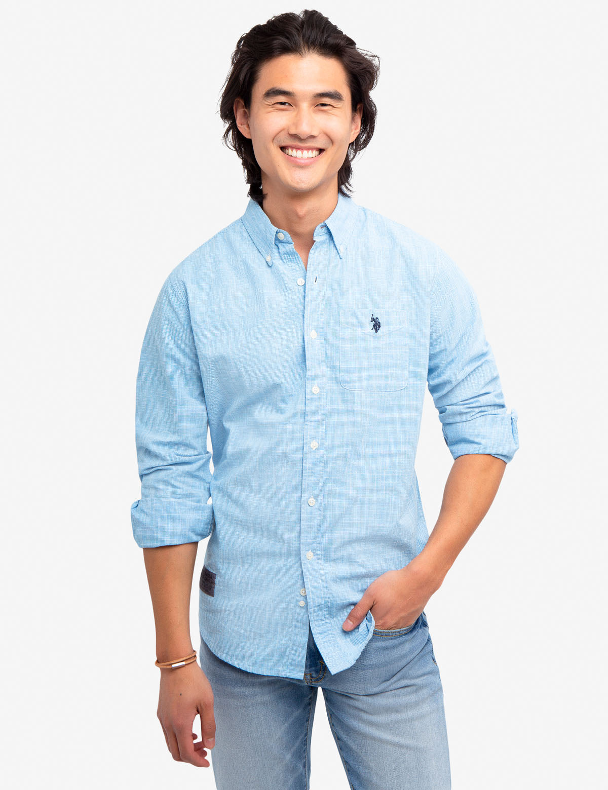 HOUNDSTOOTH SLUB SHIRT - U.S. Polo Assn.