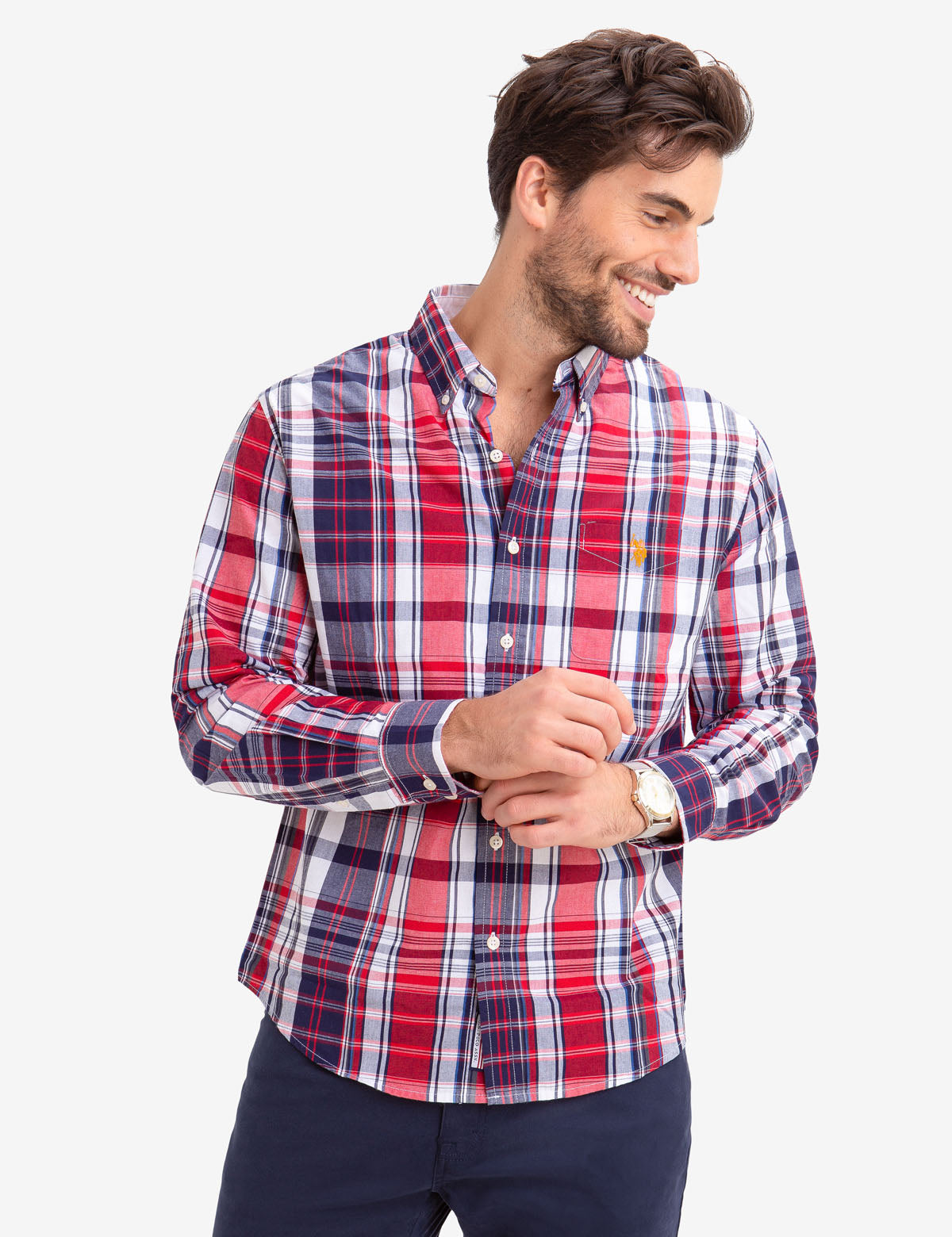 NO-TUCK PLAID POPLIN SHIRT