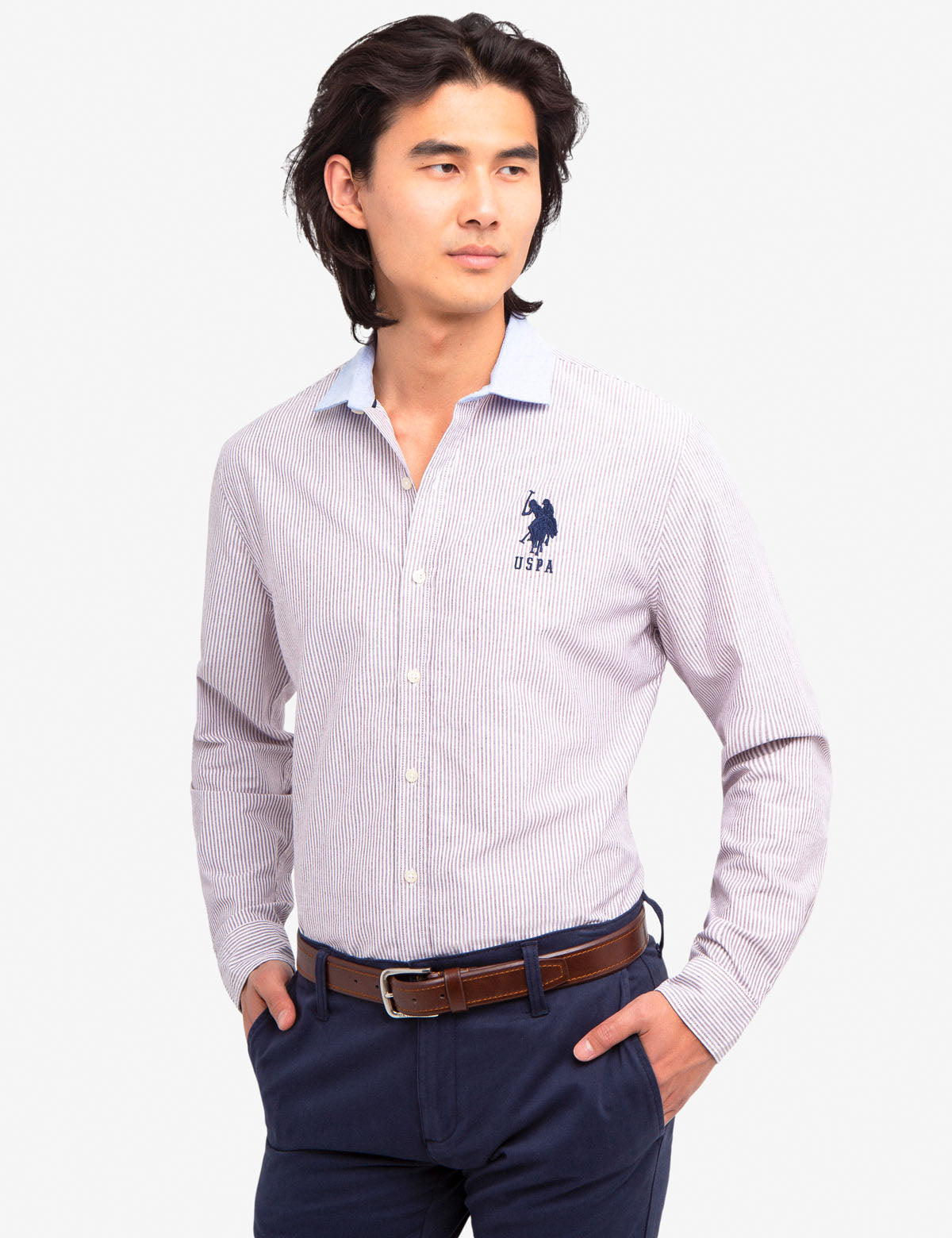 OXFORD SHIRT WITH CONTRAST COLLAR - U.S. Polo Assn.