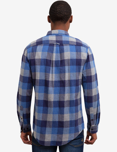 TWO POCKET HEATHERED TWILL CHECKERED SHIRT - U.S. Polo Assn.