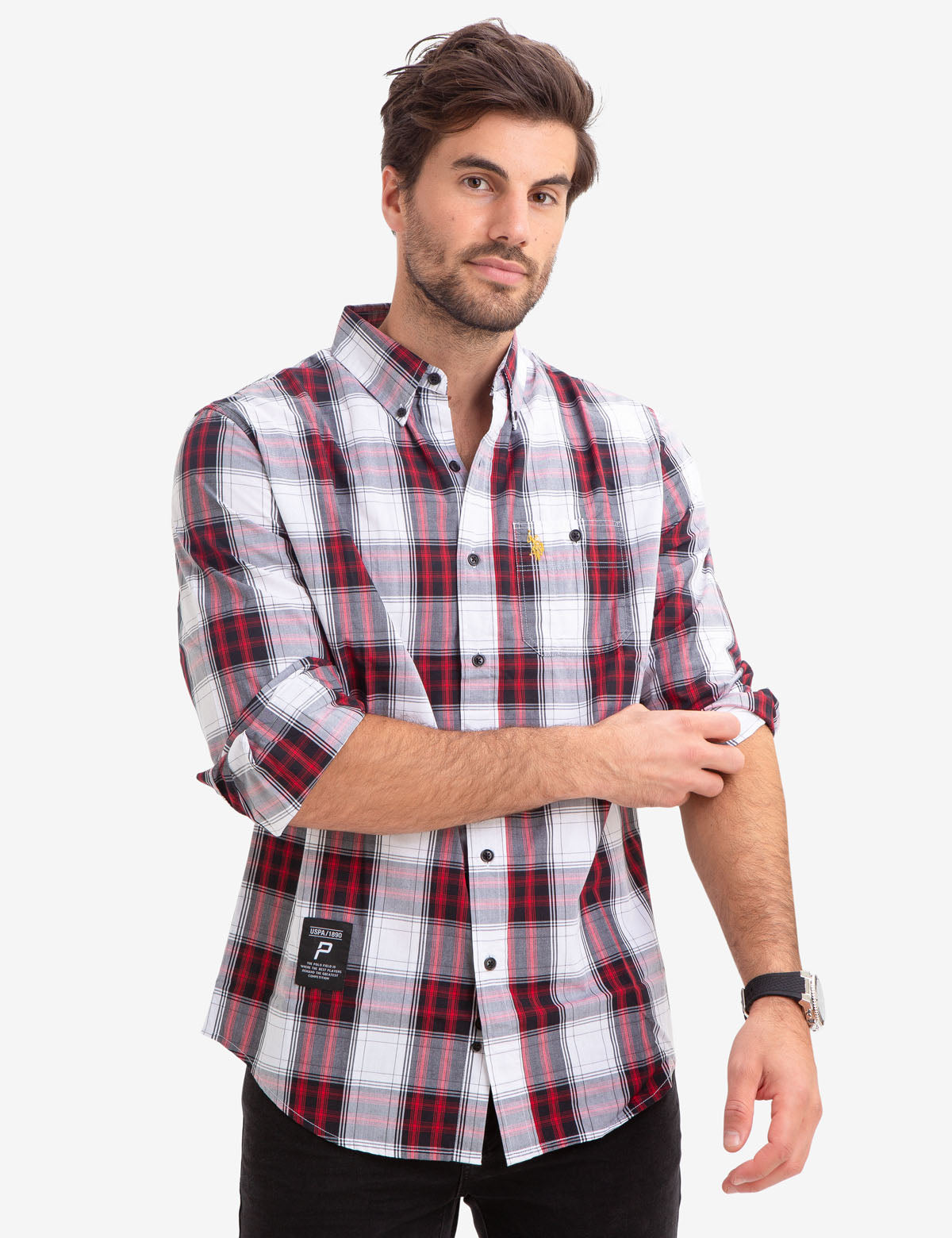PLAID DOBBY POPLIN SHIRT