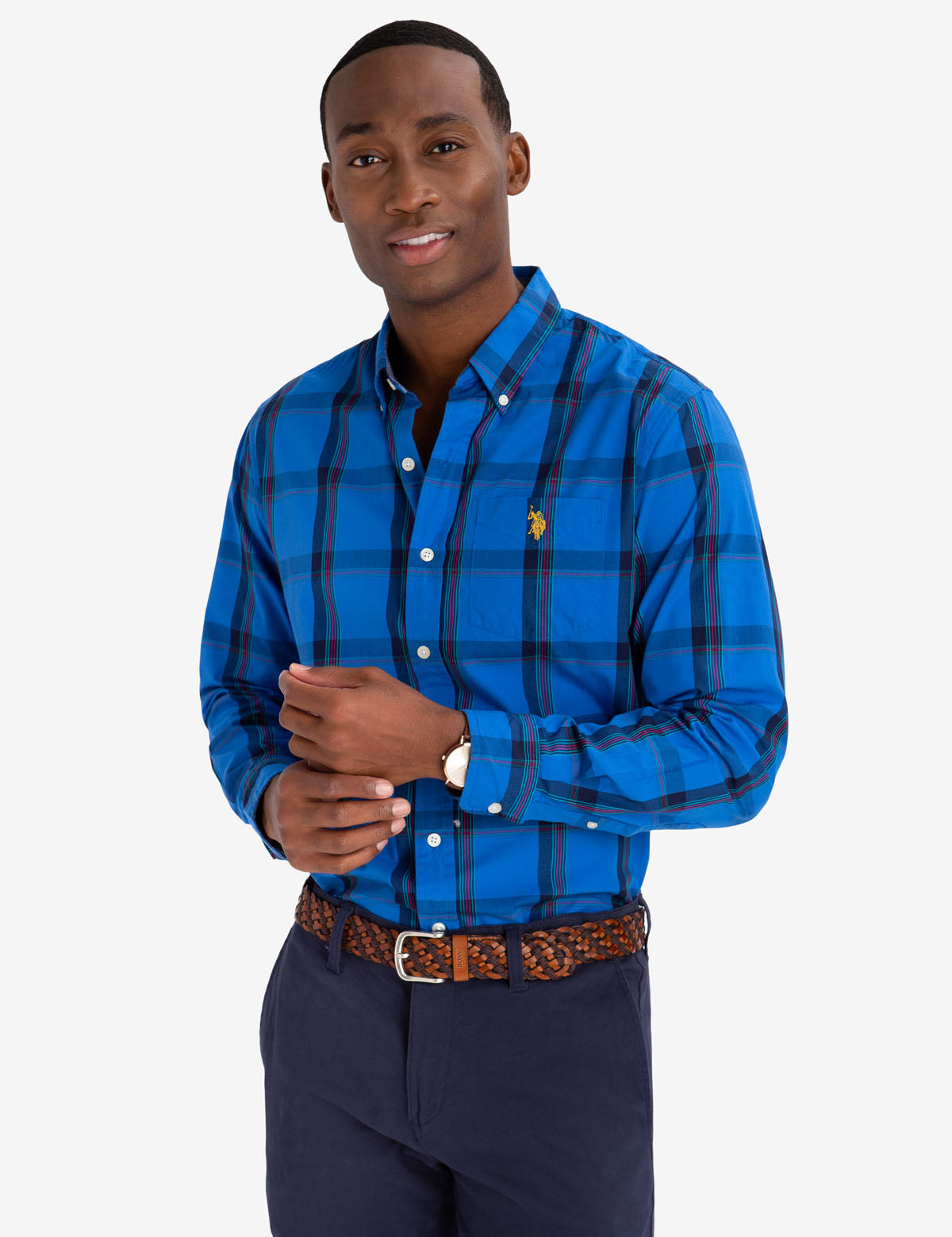MULTI COLOR PLAID POPLIN SHIRT