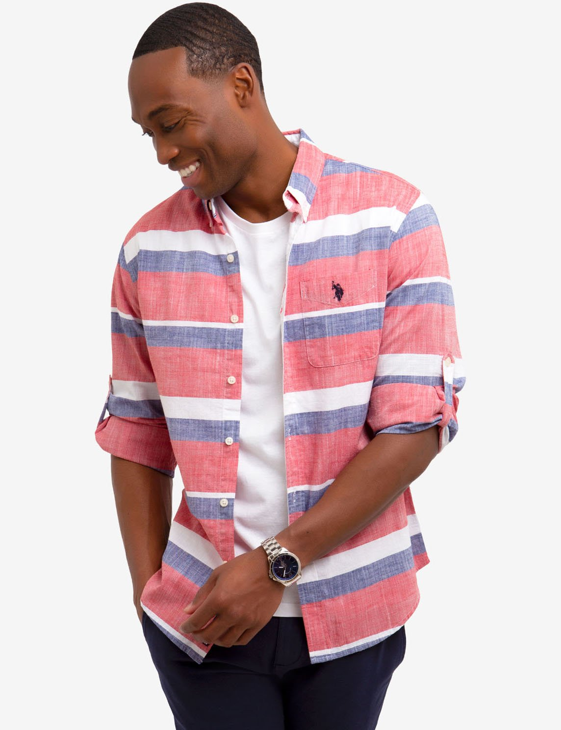 HORIZONTAL STRIPE ROLLUP SHIRT