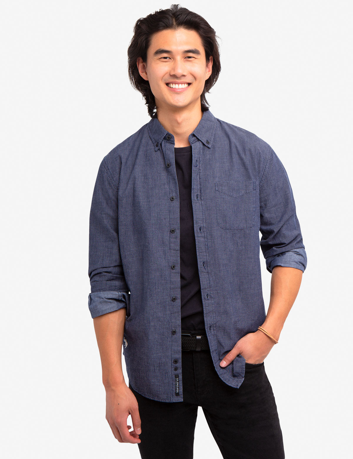 BLACK MALLET CANVAS SLUB CHAMBRAY SHIRT