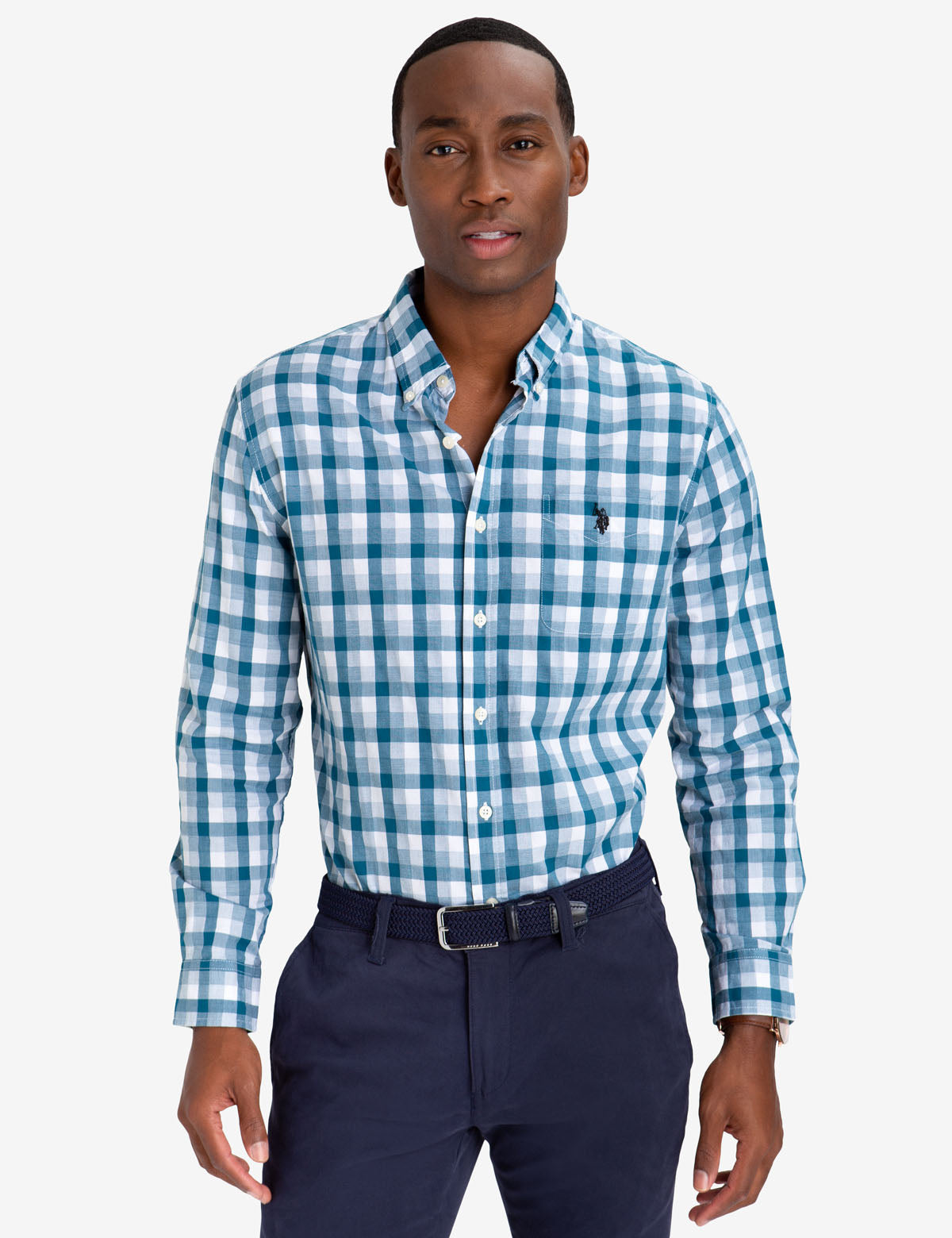 BLACK MALLET CLASSIC FIT DOBBY PLAID SHIRT