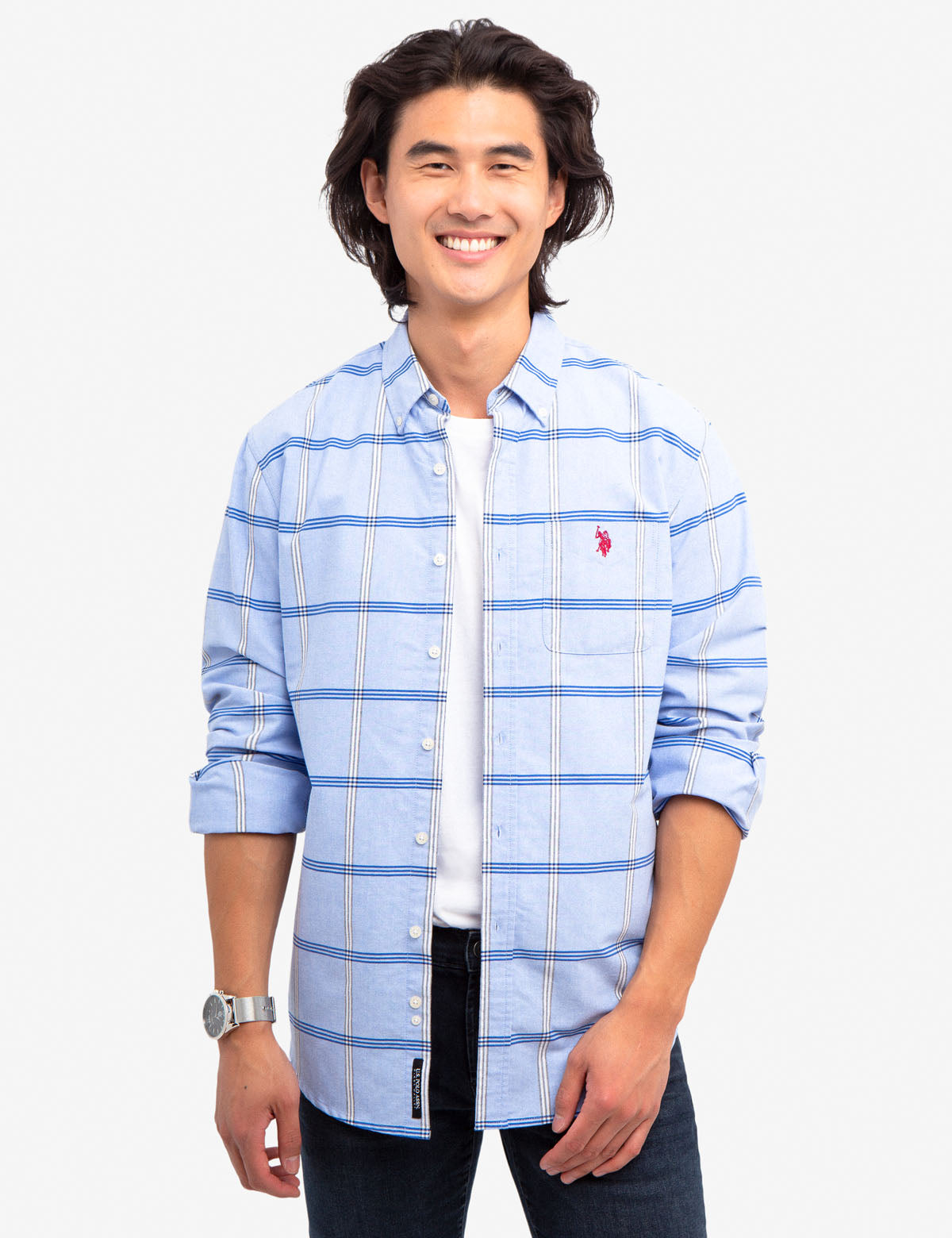 BLACK MALLET CLASSIC FIT PLAID OXFORD SHIRT