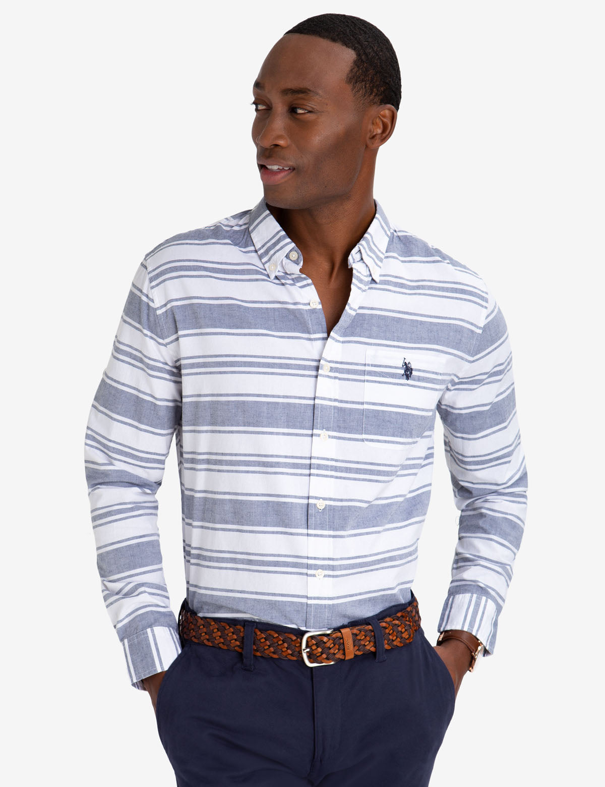 BLACK MALLET CLASSIC FIT HORIZONTAL STRIPE SHIRT