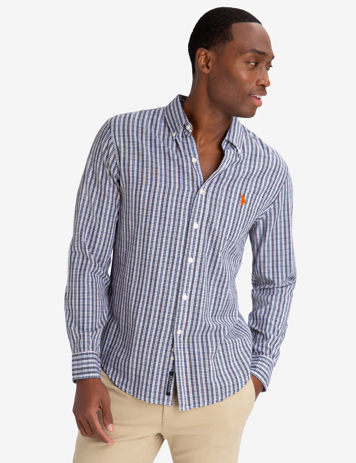 BLACK MALLET SLIM FIT PLAID DOBBY SHIRT