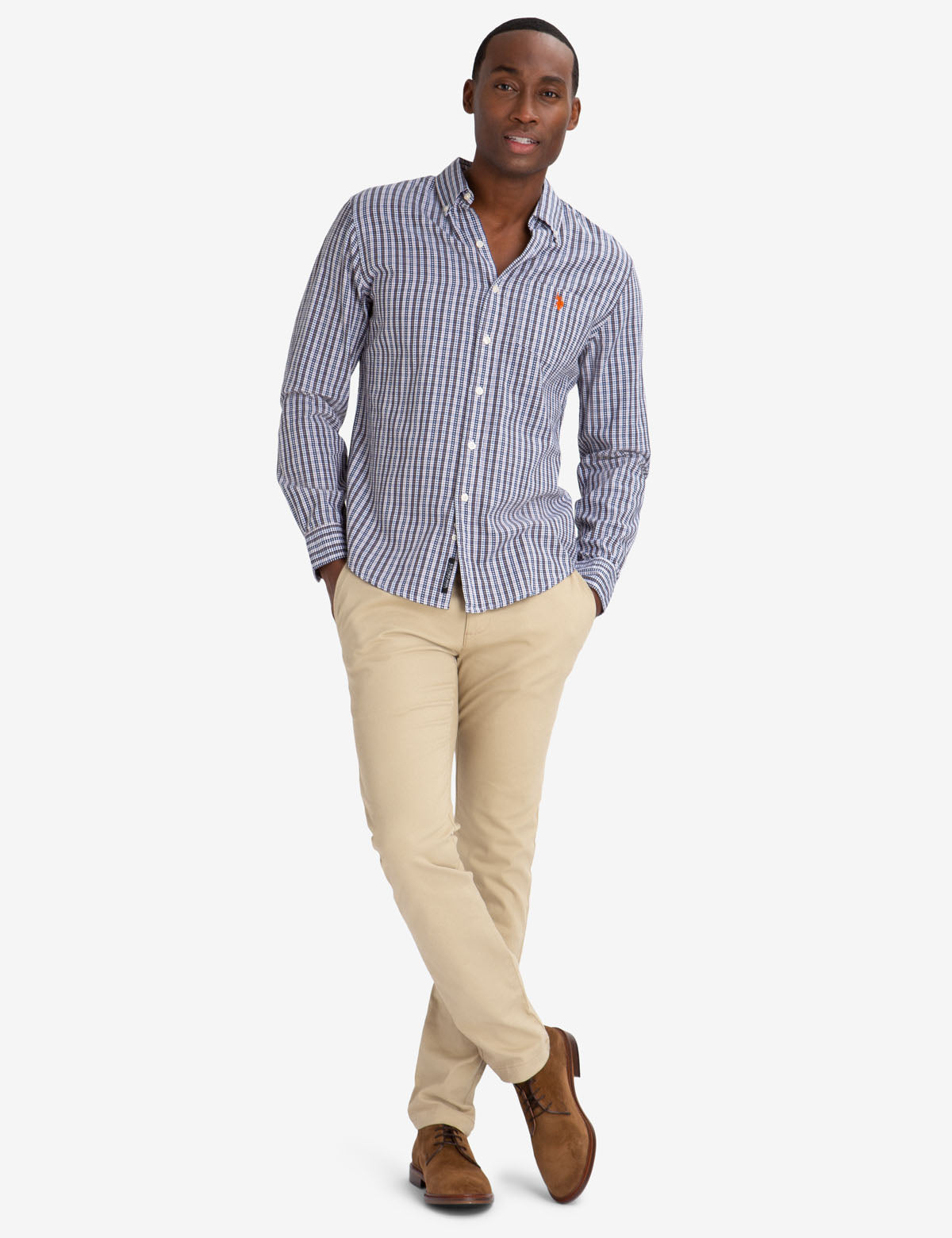 BLACK MALLET SLIM FIT PLAID DOBBY SHIRT - U.S. Polo Assn.