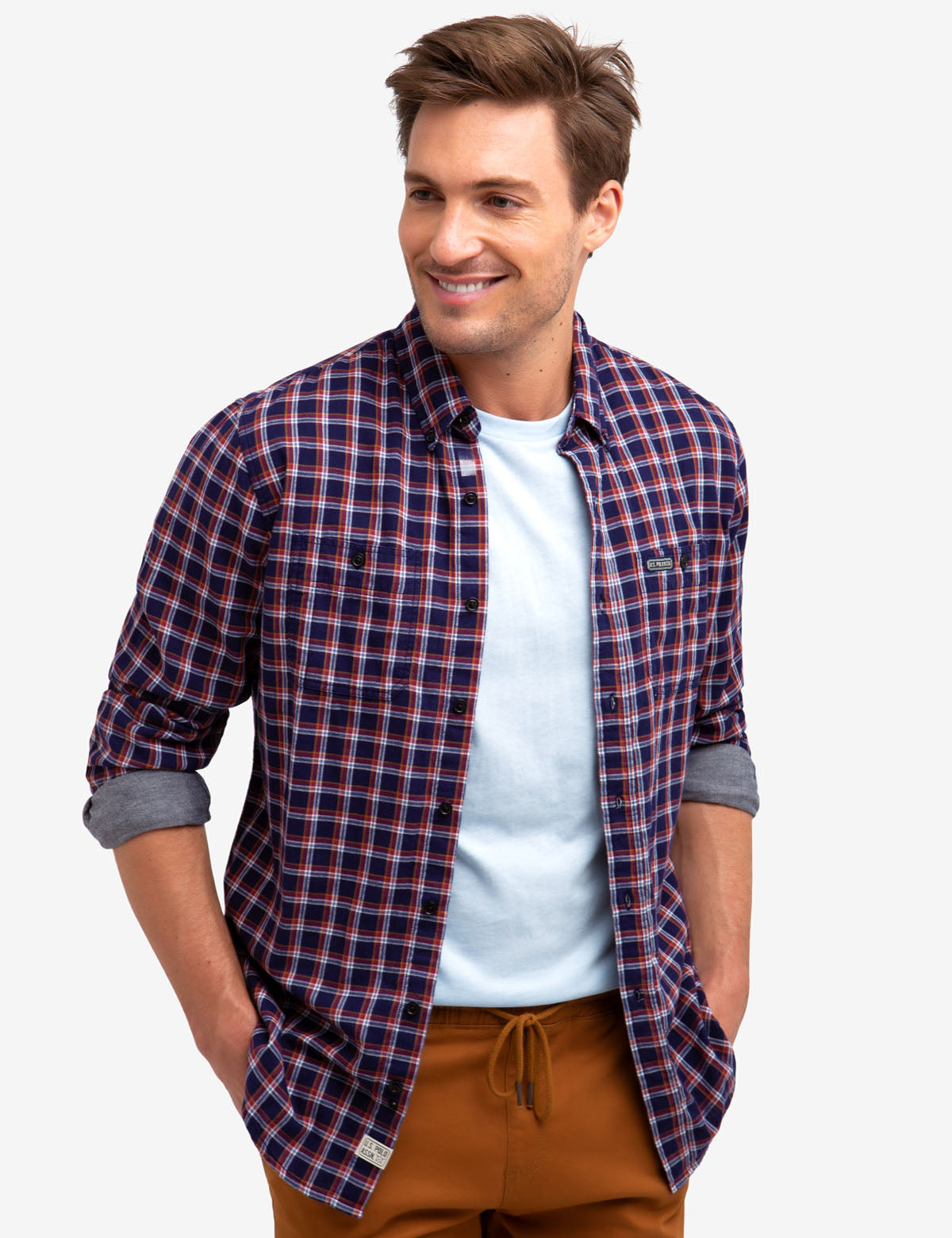PLAID SHIRT WITH CHAMBRAY INTERIOR