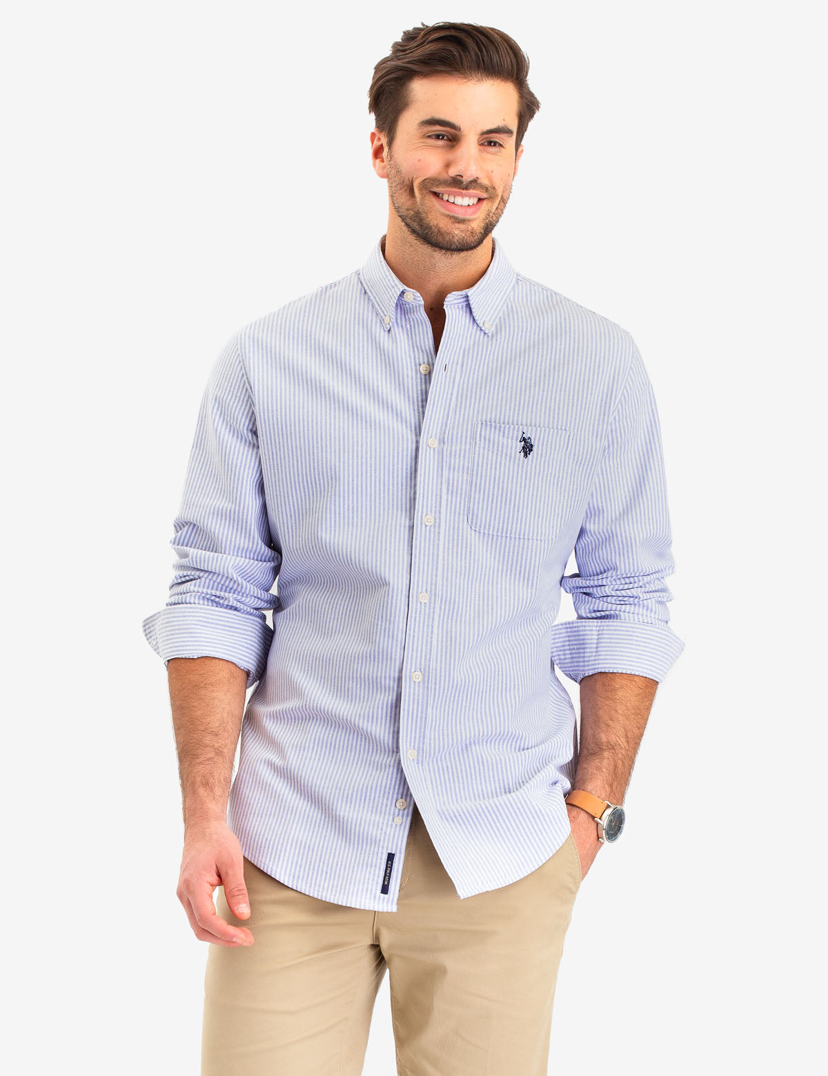 LONG SLEEVE STRIPED OXFORD SHIRT