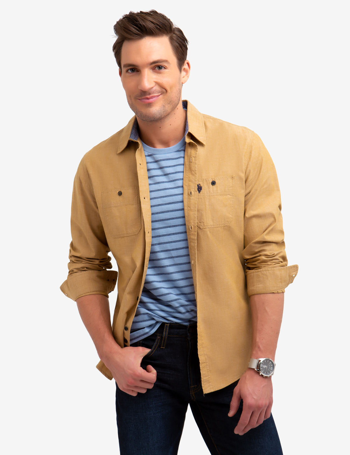 SLIM SOLID CANVAS SHIRT