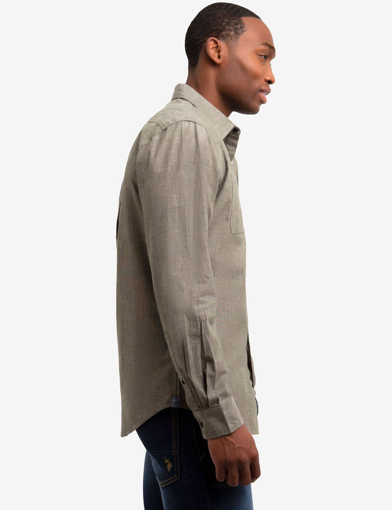 CLASSIC FIT TWO POCKET SLUB CANVAS SHIRT