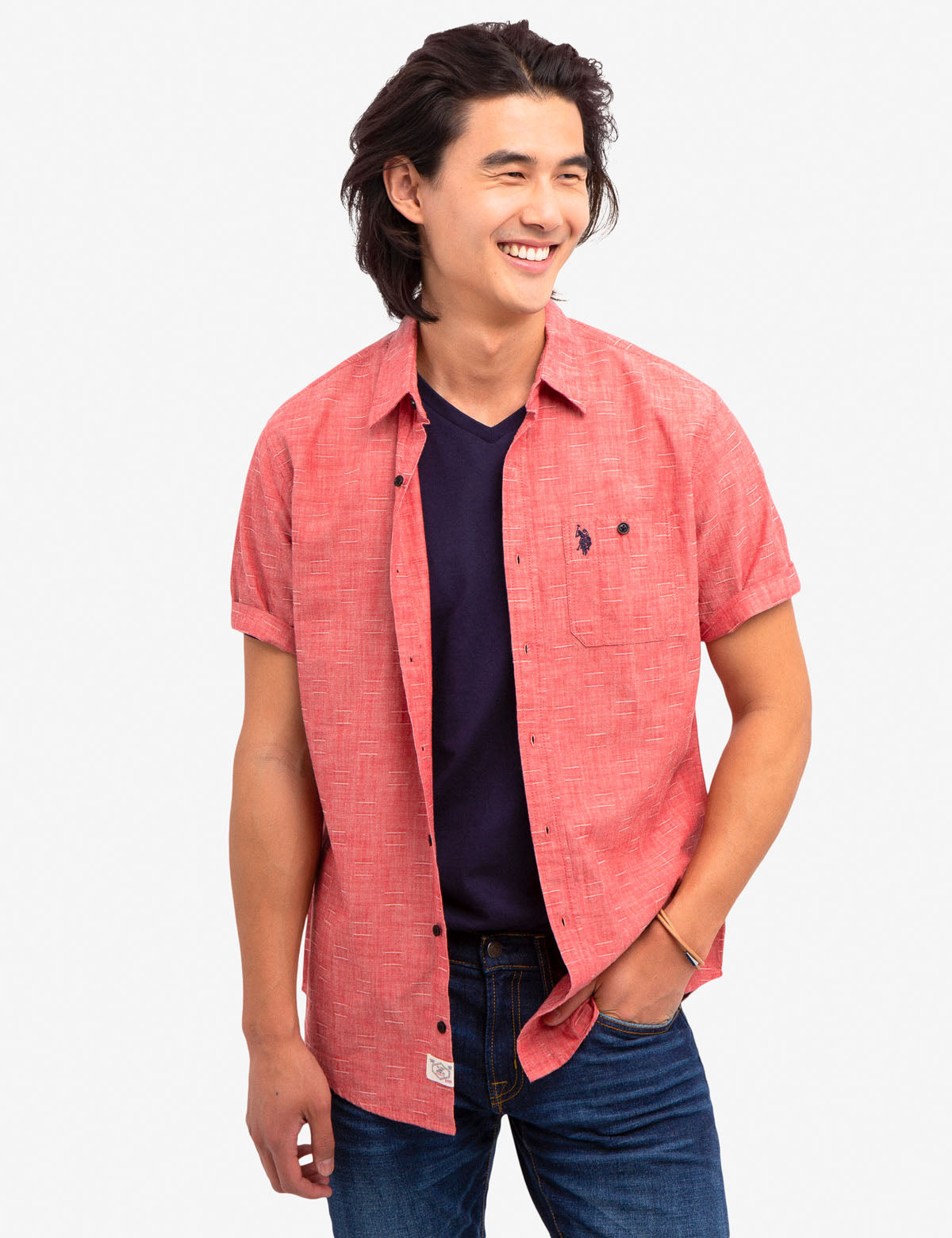 SLUB DOBBY CANVAS SHIRT - U.S. Polo Assn.