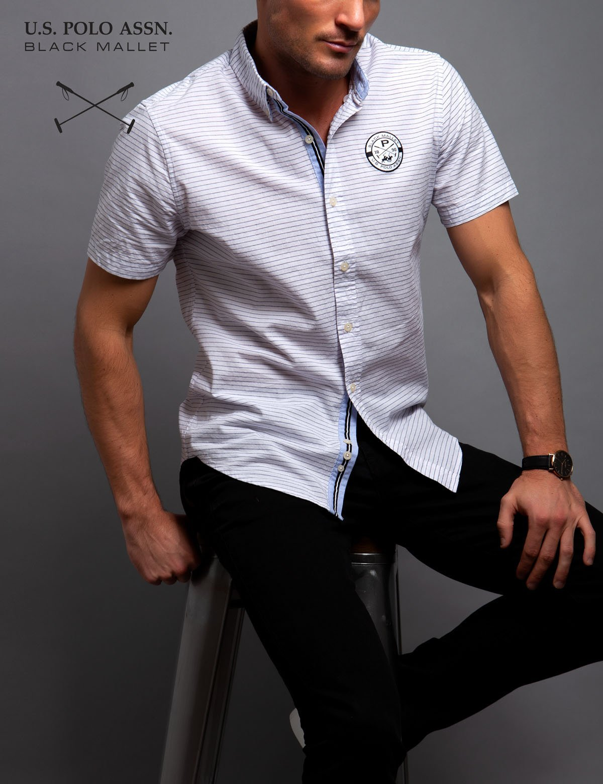 BLACK MALLET STRETCH SLIM STRIPE SHIRT
