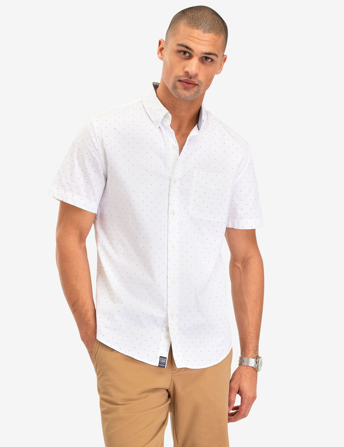 DOT PRINT POPLIN SHORT SLEEVE SHIRT